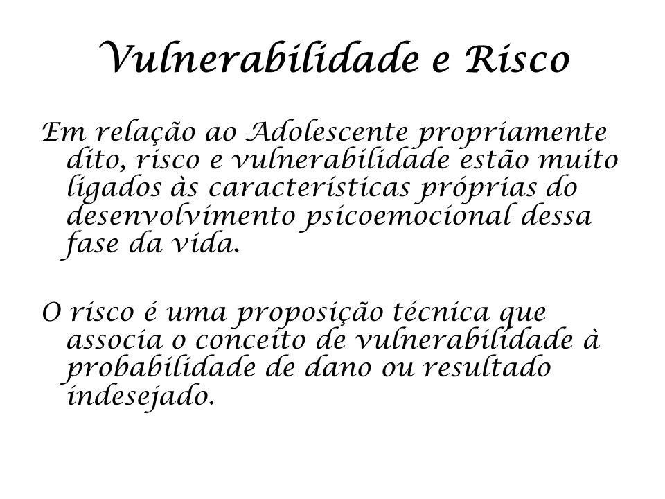 Vulnerabilidade e Risco Em relação ao Adolescente propriamente dito, risco e vulnerabilidade estão muito ligados às características próprias do desenv