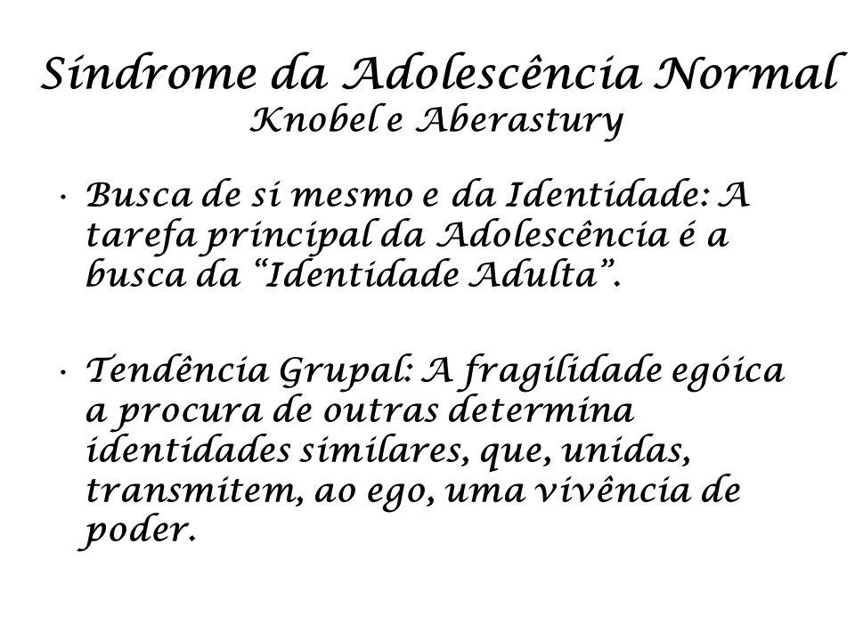 Síndrome da Adolescência Normal Knobel e Aberastury Busca de si mesmo e da Identidade: A tarefa principal da Adolescência é a busca da Identidade Adul