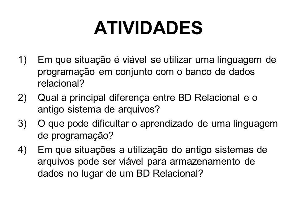 ATIVIDADES 1)Em que situação é viável se utilizar uma linguagem de programação em conjunto com o banco de dados relacional.