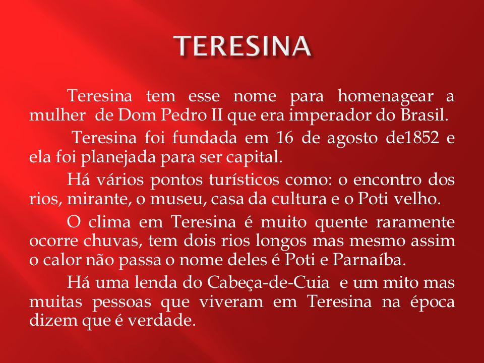 Teresina tem esse nome para homenagear a mulher de Dom Pedro II que era imperador do Brasil.