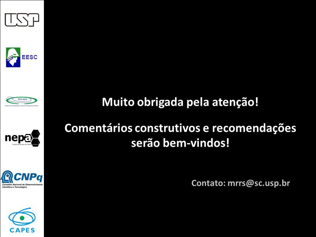 Muito obrigada pela atenção! Comentários construtivos e recomendações serão bem-vindos! Mariana Santos Contato: mrrs@sc.usp.br EESC
