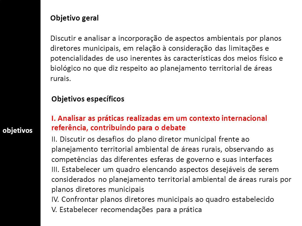 objetivos Objetivo geral Discutir e analisar a incorporação de aspectos ambientais por planos diretores municipais, em relação à consideração das limi