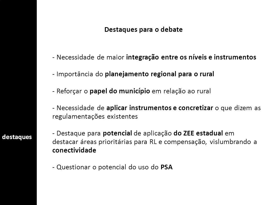 - Necessidade de maior integração entre os níveis e instrumentos - Importância do planejamento regional para o rural - Reforçar o papel do município e