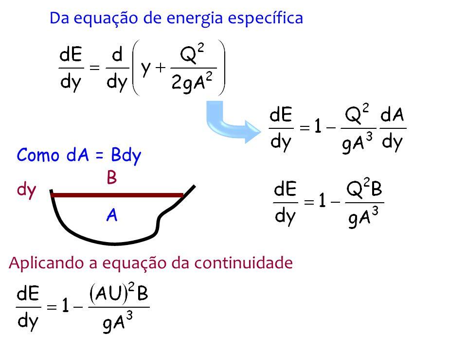 Ou ainda F r é o número de Froude Fazendo B = A/y h Igualando a expressão anterior a zero F r = 1 Energia é mínima regime crítico y 1 y > y c dE/dy > 0 1-F r 2 > 0 F r < 1 Além disso:
