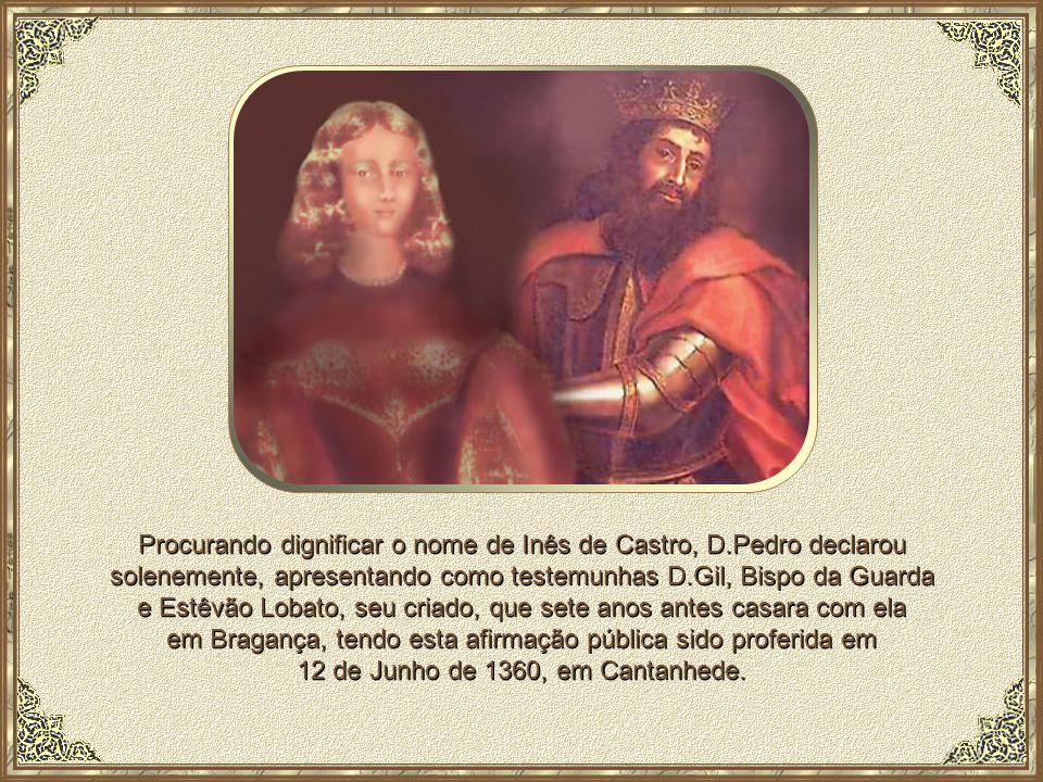 Mais tarde, D.Pedro I mandou esculpir outro monumento, semelhante ao da sua amada, colocando-o em frente ao da sua Inês, para, após a sua morte, perma