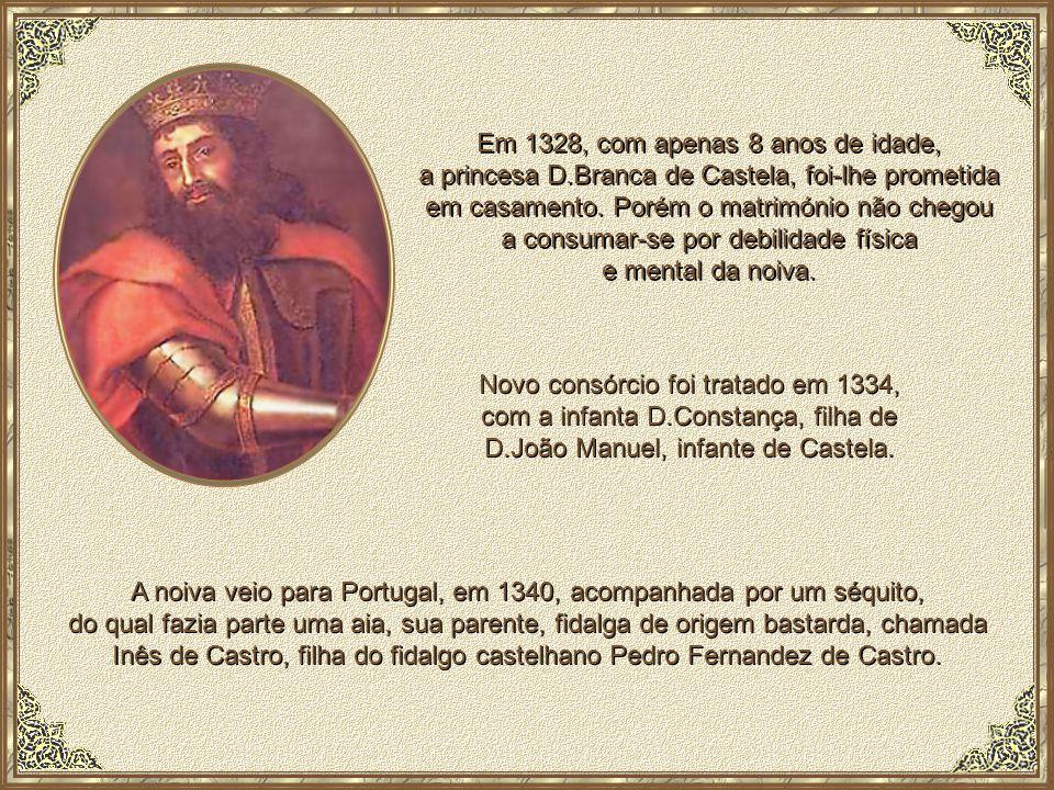 O príncipe D.Pedro, filho de D.Afonso IV e de D.Beatriz de Castela, nasceu em Coimbra, em 8 de Abril de 1320 e morreu em Lisboa, em 18 de Janeiro de 1