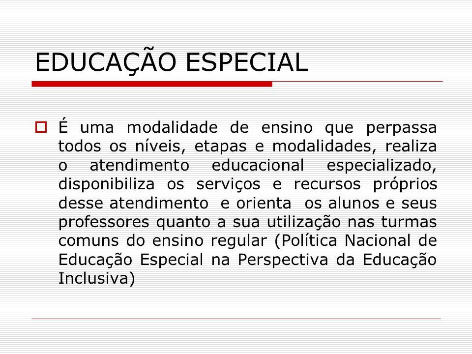 EDUCAÇÃO ESPECIAL É uma modalidade de ensino que perpassa todos os níveis, etapas e modalidades, realiza o atendimento educacional especializado, disp
