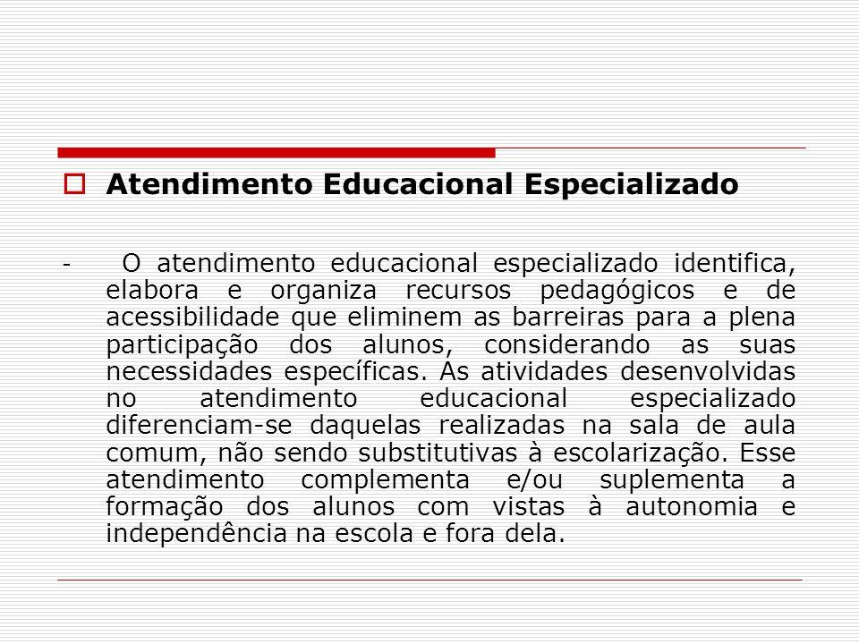 Atendimento Educacional Especializado - O atendimento educacional especializado identifica, elabora e organiza recursos pedagógicos e de acessibilidad
