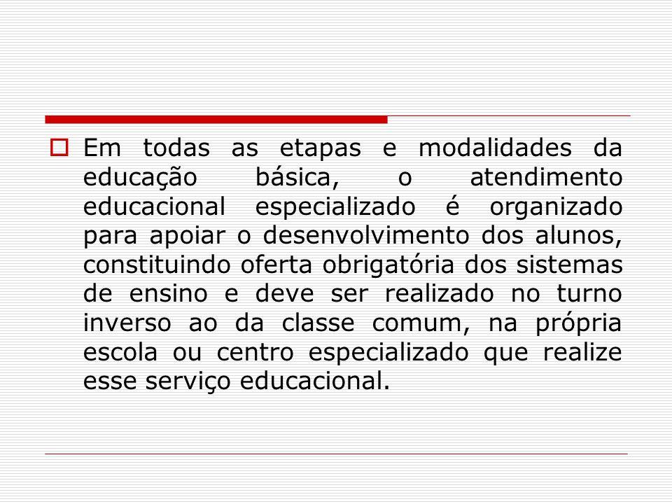 Em todas as etapas e modalidades da educação básica, o atendimento educacional especializado é organizado para apoiar o desenvolvimento dos alunos, co