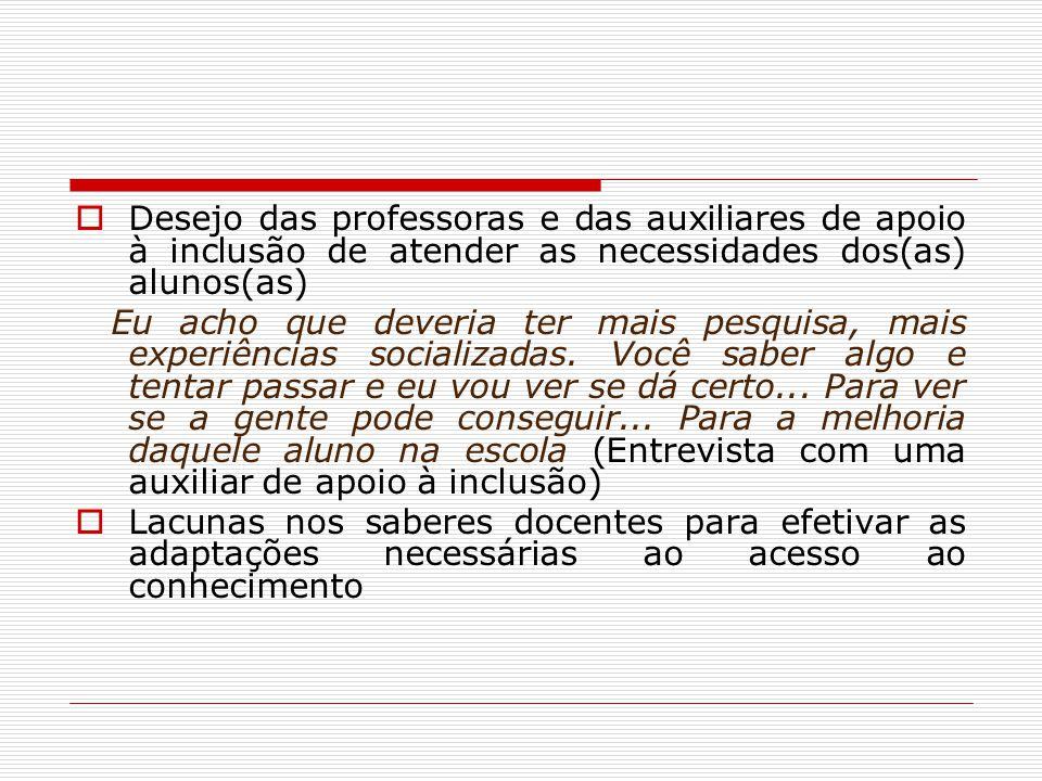 Desejo das professoras e das auxiliares de apoio à inclusão de atender as necessidades dos(as) alunos(as) Eu acho que deveria ter mais pesquisa, mais