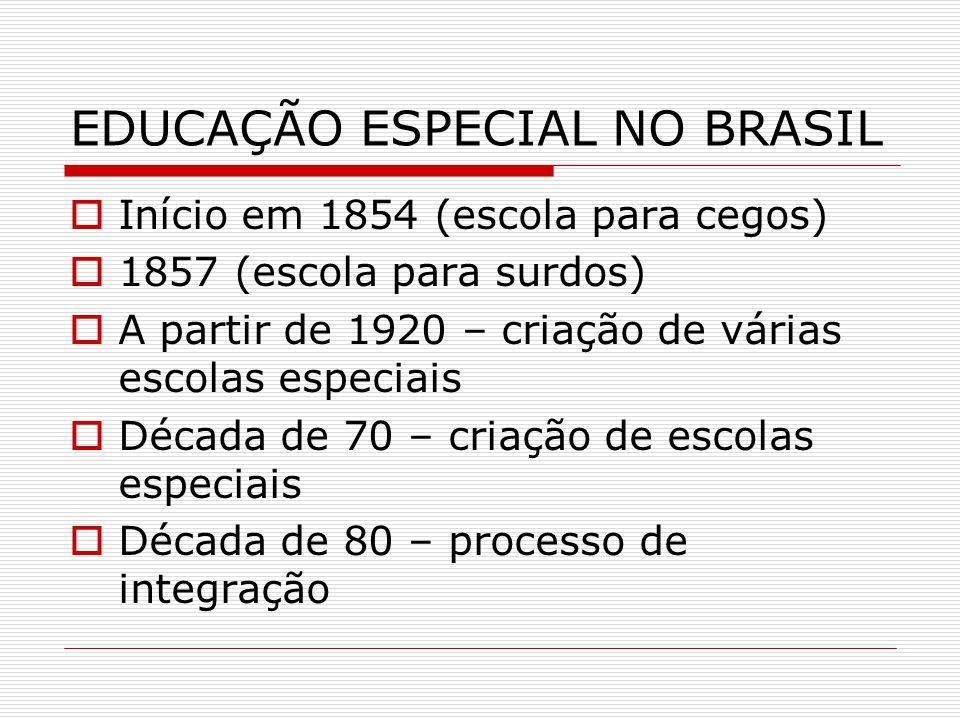 EDUCAÇÃO ESPECIAL NO BRASIL Início em 1854 (escola para cegos) 1857 (escola para surdos) A partir de 1920 – criação de várias escolas especiais Década