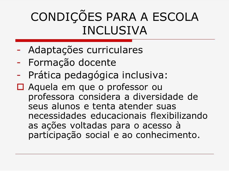 CONDIÇÕES PARA A ESCOLA INCLUSIVA -Adaptações curriculares -Formação docente -Prática pedagógica inclusiva: Aquela em que o professor ou professora co