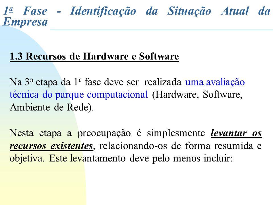 1.3 Recursos de Hardware e Software Na 3 a etapa da 1 a fase deve ser realizada uma avaliação técnica do parque computacional (Hardware, Software, Amb