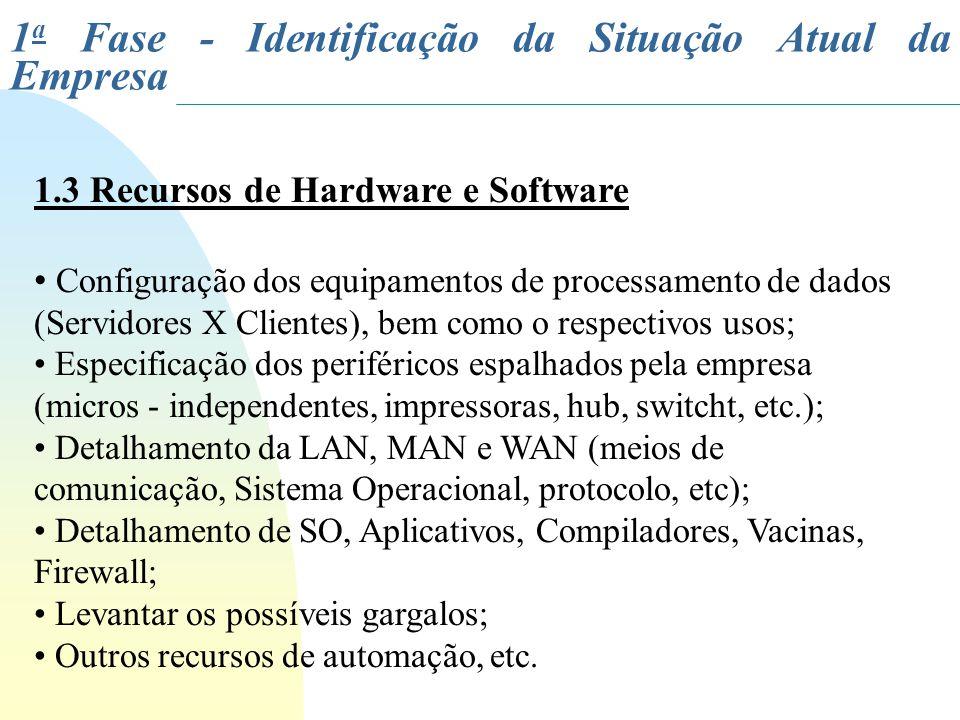 1.3 Recursos de Hardware e Software Configuração dos equipamentos de processamento de dados (Servidores X Clientes), bem como o respectivos usos; Espe