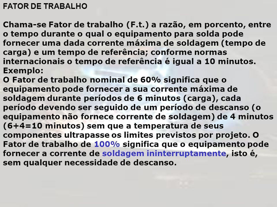 FATOR DE TRABALHO Chama-se Fator de trabalho (F.t.) a razão, em porcento, entre o tempo durante o qual o equipamento para solda pode fornecer uma dada