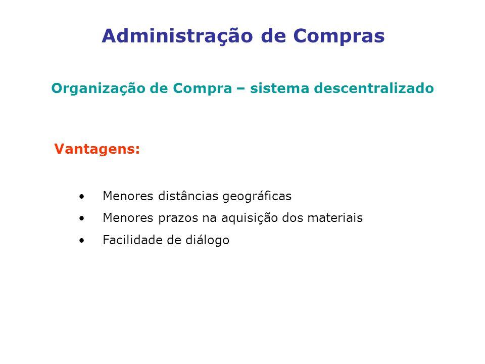 Administração de Compras Organização de Compra – sistema descentralizado Vantagens: Menores distâncias geográficas Menores prazos na aquisição dos materiais Facilidade de diálogo