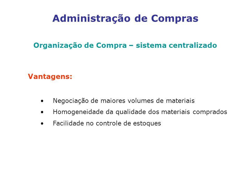 Administração de Compras Organização de Compra – sistema centralizado Vantagens: Negociação de maiores volumes de materiais Homogeneidade da qualidade dos materiais comprados Facilidade no controle de estoques