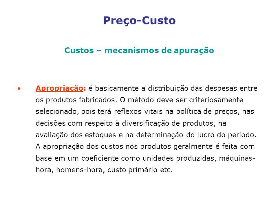 Preço-Custo Custos – mecanismos de apuração Apropriação: é basicamente a distribuição das despesas entre os produtos fabricados.
