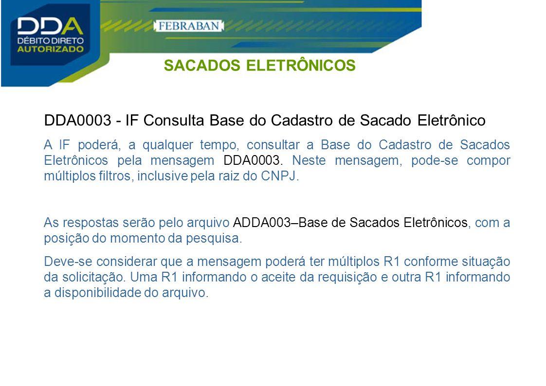 DDA0003 - IF Consulta Base do Cadastro de Sacado Eletrônico A IF poderá, a qualquer tempo, consultar a Base do Cadastro de Sacados Eletrônicos pela me