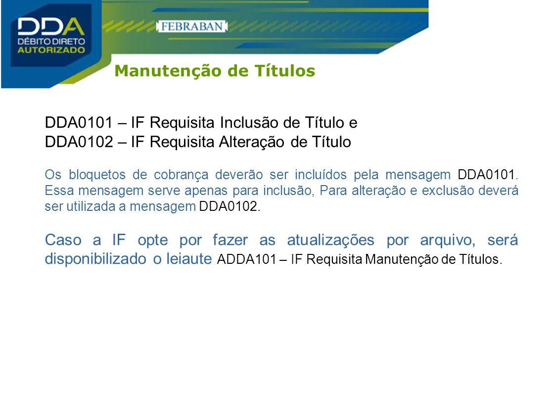 DDA0101 – IF Requisita Inclusão de Título e DDA0102 – IF Requisita Alteração de Título Os bloquetos de cobrança deverão ser incluídos pela mensagem DD