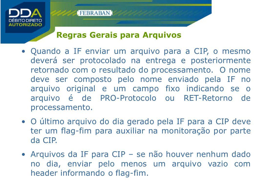 Regras Gerais para Arquivos Quando a IF enviar um arquivo para a CIP, o mesmo deverá ser protocolado na entrega e posteriormente retornado com o resul