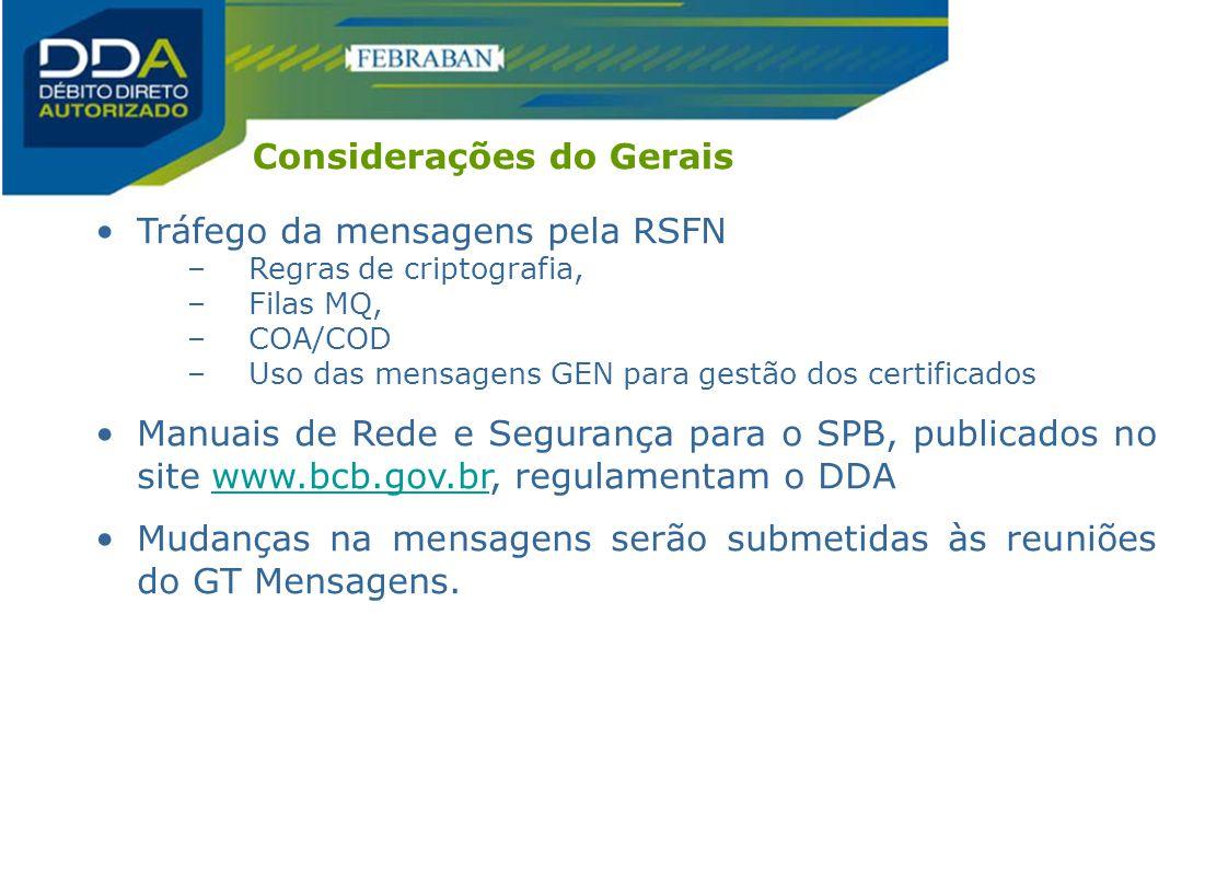 Tráfego da mensagens pela RSFN –Regras de criptografia, –Filas MQ, –COA/COD –Uso das mensagens GEN para gestão dos certificados Manuais de Rede e Segu