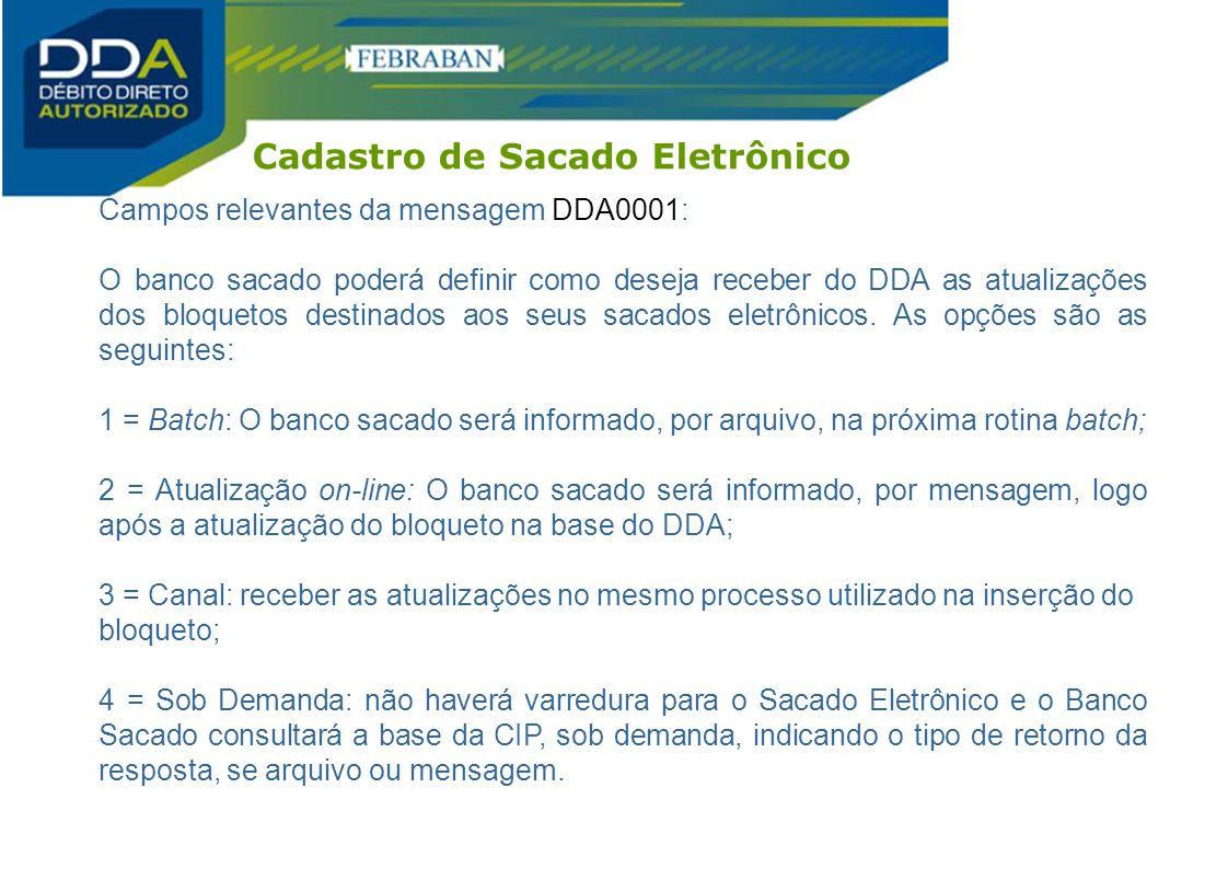 Campos relevantes da mensagem DDA0001: O banco sacado poderá definir como deseja receber do DDA as atualizações dos bloquetos destinados aos seus saca