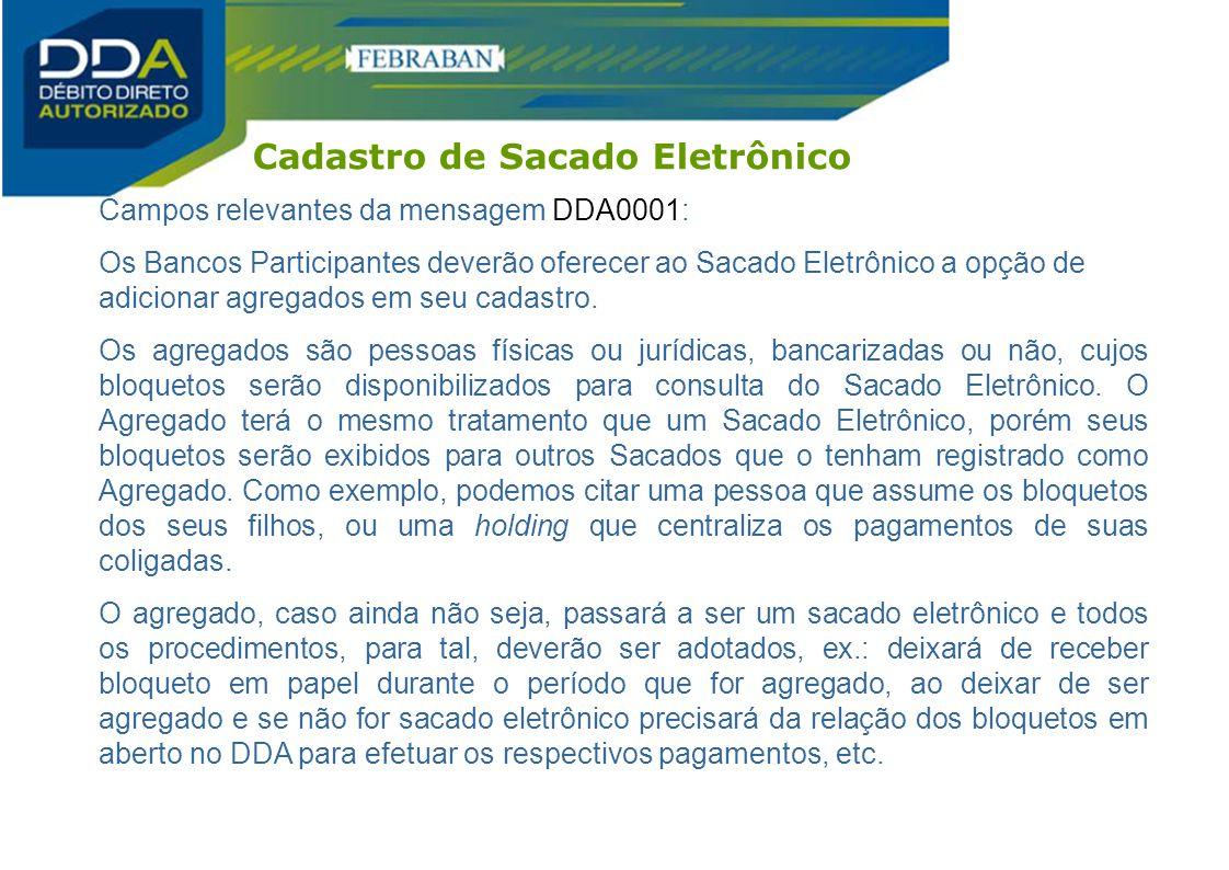 Campos relevantes da mensagem DDA0001: Os Bancos Participantes deverão oferecer ao Sacado Eletrônico a opção de adicionar agregados em seu cadastro. O