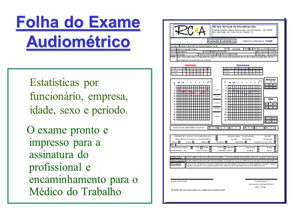 Folha do Exame Audiométrico O exame pronto e impresso para a assinatura do profissional e encaminhamento para o Médico do Trabalho Estatísticas por fu