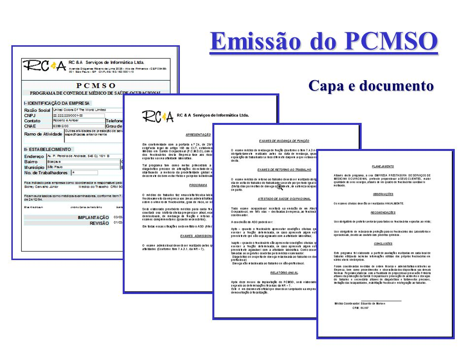 Emissão do PCMSO Capa e documento