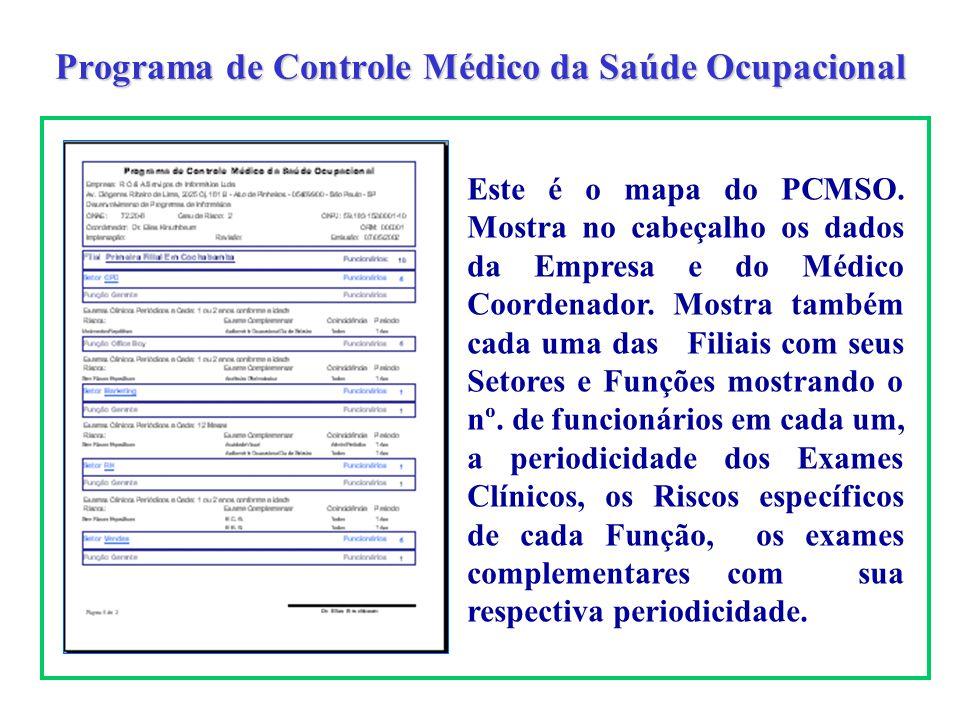 Programa de Controle Médico da Saúde Ocupacional Este é o mapa do PCMSO. Mostra no cabeçalho os dados da Empresa e do Médico Coordenador. Mostra també