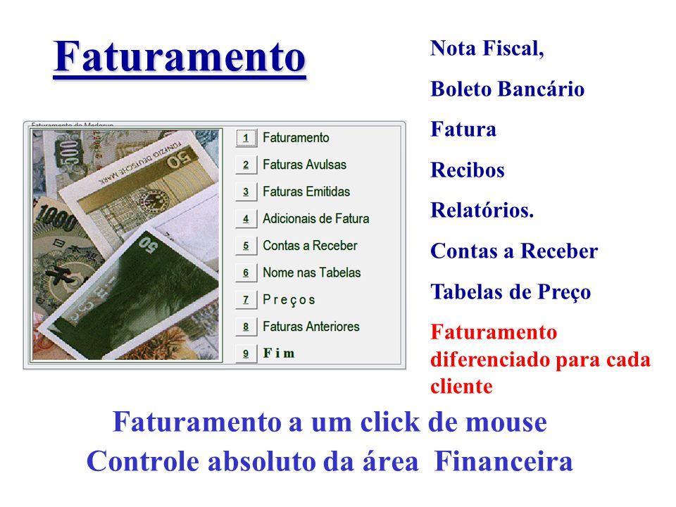 Faturamento Faturamento a um click de mouse Controle absoluto da área Financeira Nota Fiscal, Boleto Bancário Fatura Recibos Relatórios. Contas a Rece