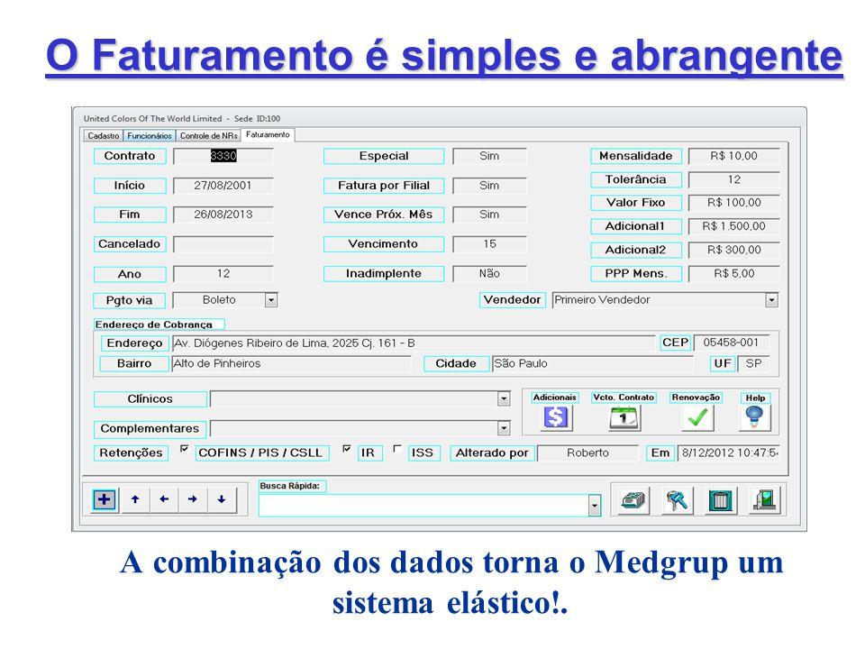 O Faturamento é simples e abrangente A combinação dos dados torna o Medgrup um sistema elástico!.