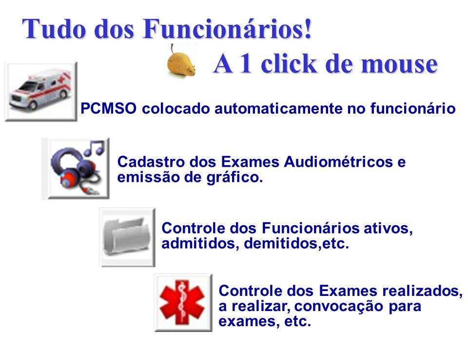 Tudo dos Funcionários! PCMSO colocado automaticamente no funcionário Cadastro dos Exames Audiométricos e emissão de gráfico. Controle dos Funcionários