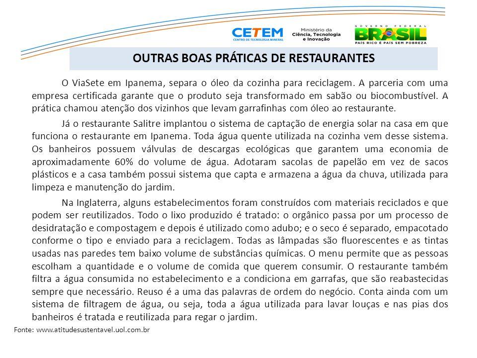 O ViaSete em Ipanema, separa o óleo da cozinha para reciclagem. A parceria com uma empresa certificada garante que o produto seja transformado em sabã