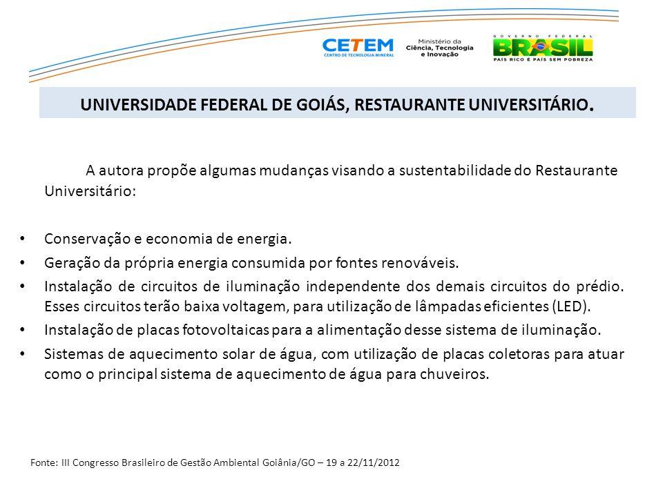 A autora propõe algumas mudanças visando a sustentabilidade do Restaurante Universitário: Conservação e economia de energia. Geração da própria energi