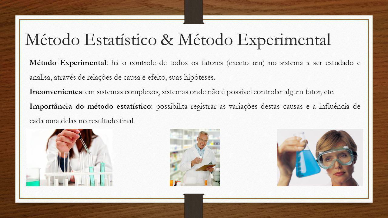 Método Estatístico & Método Experimental Método Experimental: há o controle de todos os fatores (exceto um) no sistema a ser estudado e analisa, atrav