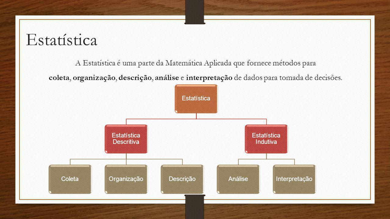 Estatística A Estatística é uma parte da Matemática Aplicada que fornece métodos para coleta, organização, descrição, análise e interpretação de dados