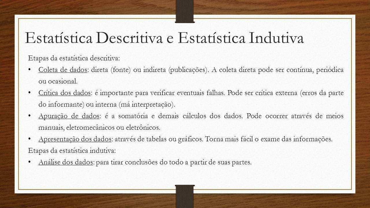 Estatística Descritiva e Estatística Indutiva Etapas da estatística descritiva: Coleta de dados: direta (fonte) ou indireta (publicações). A coleta di
