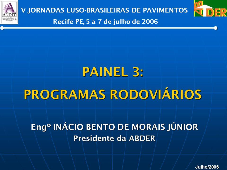 Julho/2006 V JORNADAS LUSO-BRASILEIRAS DE PAVIMENTOS Recife-PE, 5 a 7 de julho de 2006 Engº INÁCIO BENTO DE MORAIS JÚNIOR Presidente da ABDER PAINEL 3