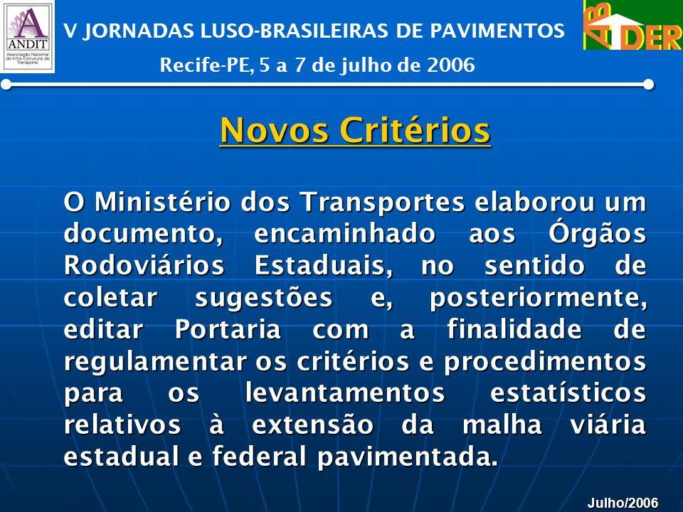 Julho/2006 V JORNADAS LUSO-BRASILEIRAS DE PAVIMENTOS Recife-PE, 5 a 7 de julho de 2006 Novos Critérios Novos Critérios O Ministério dos Transportes el
