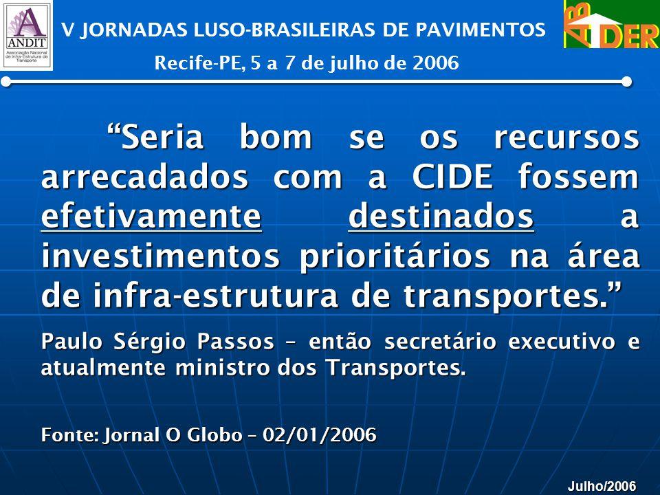 Julho/2006 V JORNADAS LUSO-BRASILEIRAS DE PAVIMENTOS Recife-PE, 5 a 7 de julho de 2006 Seria bom se os recursos arrecadados com a CIDE fossem efetivam