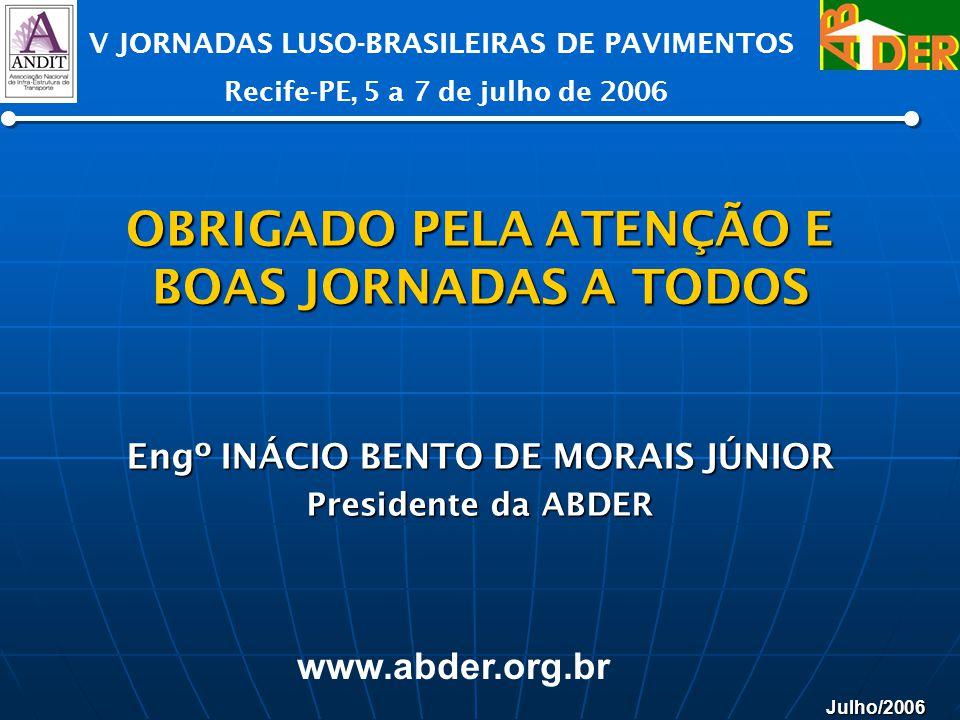 Julho/2006 V JORNADAS LUSO-BRASILEIRAS DE PAVIMENTOS Recife-PE, 5 a 7 de julho de 2006 www.abder.org.br OBRIGADO PELA ATENÇÃO E BOAS JORNADAS A TODOS
