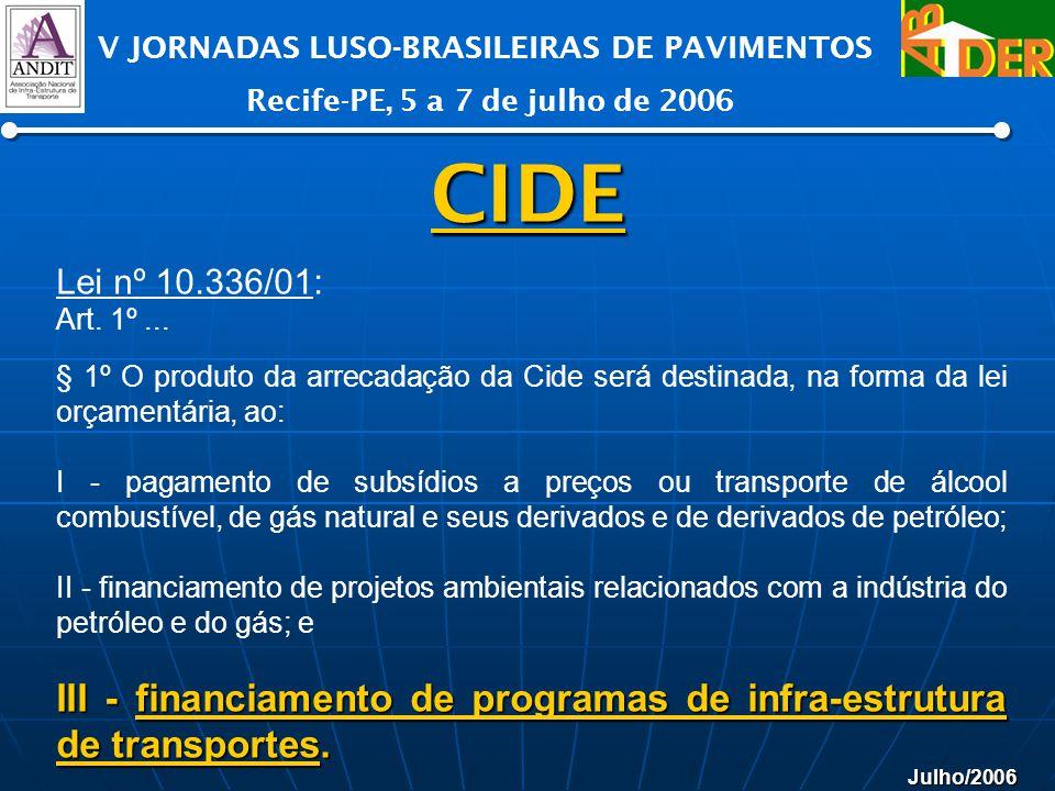 Julho/2006 V JORNADAS LUSO-BRASILEIRAS DE PAVIMENTOS Recife-PE, 5 a 7 de julho de 2006 CIDE Lei nº 10.336/01: Art. 1º... § 1º O produto da arrecadação