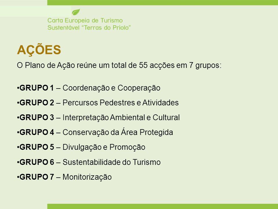 AÇÕES O Plano de Ação reúne um total de 55 acções em 7 grupos: GRUPO 1 – Coordenação e Cooperação GRUPO 2 – Percursos Pedestres e Atividades GRUPO 3 –