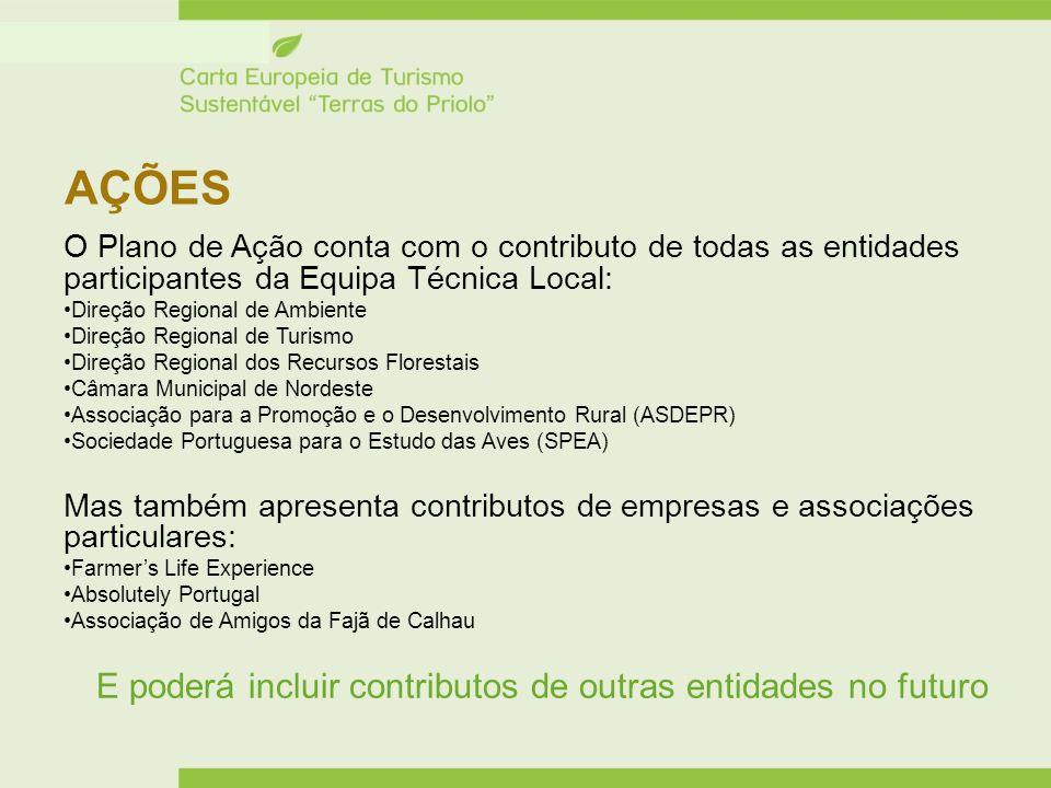 AÇÕES O Plano de Ação conta com o contributo de todas as entidades participantes da Equipa Técnica Local: Direção Regional de Ambiente Direção Regiona