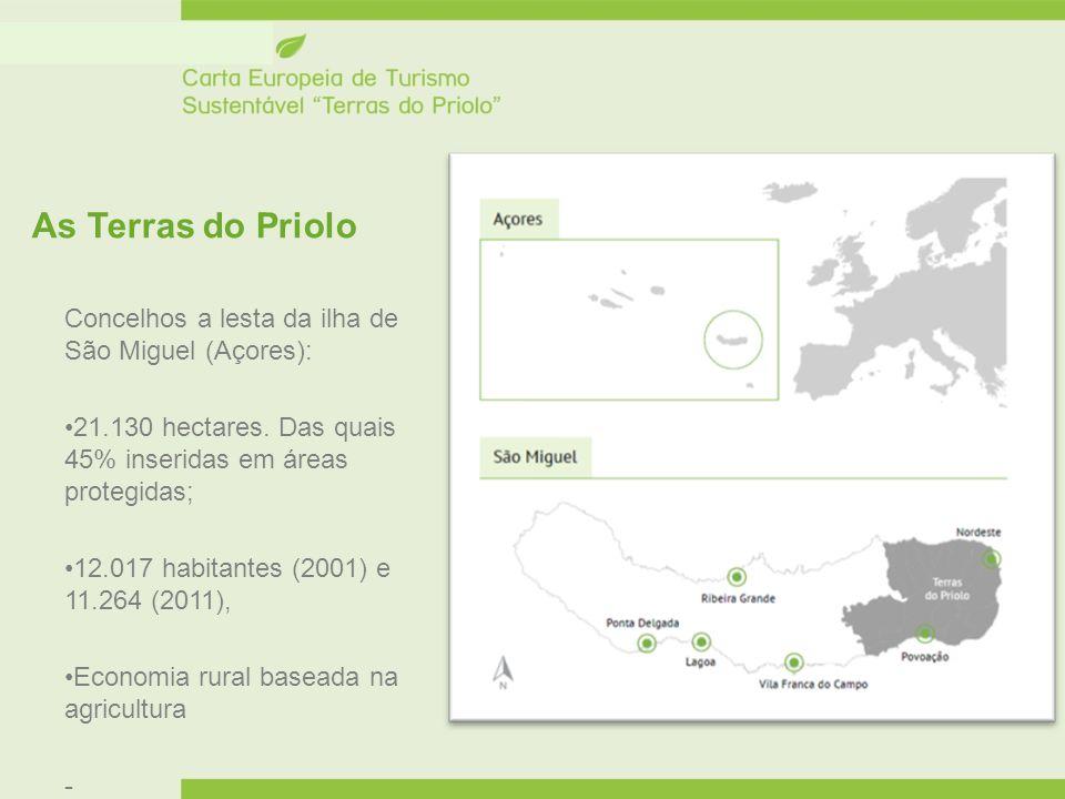 As Terras do Priolo Concelhos a lesta da ilha de São Miguel (Açores): 21.130 hectares. Das quais 45% inseridas em áreas protegidas; 12.017 habitantes