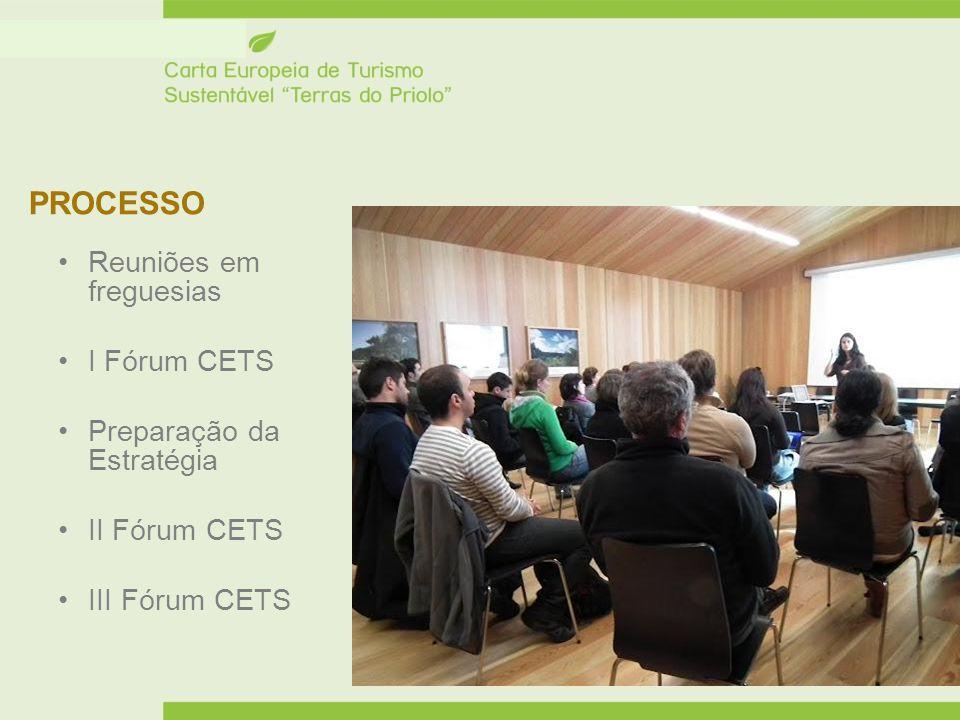 PROCESSO Reuniões em freguesias I Fórum CETS Preparação da Estratégia II Fórum CETS III Fórum CETS