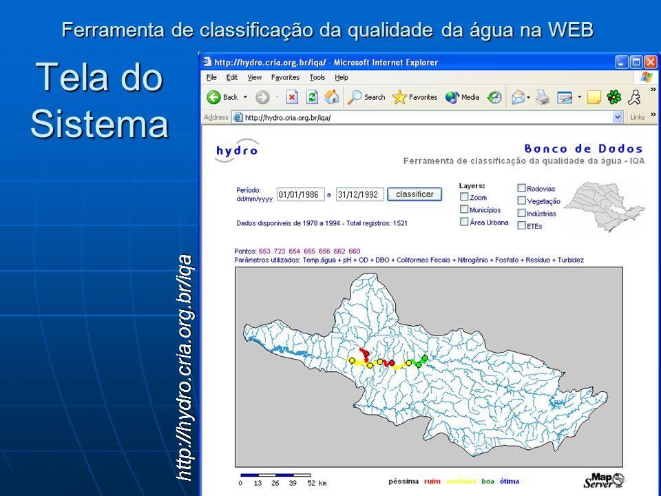 Tela do Sistema Ferramenta de classificação da qualidade da água na WEB http://hydro.cria.org.br/iqa