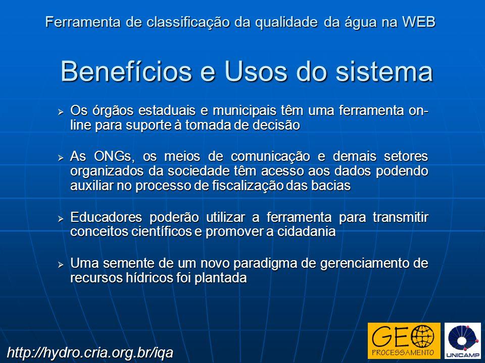 Benefícios e Usos do sistema Os órgãos estaduais e municipais têm uma ferramenta on- line para suporte à tomada de decisão Os órgãos estaduais e munic